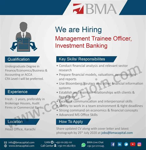 BMA Capital Management Limited Jobs July 2020