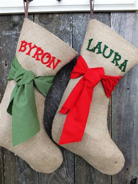 Items similar to BURLAP CHRISTMAS STOCKING Pick Your Color