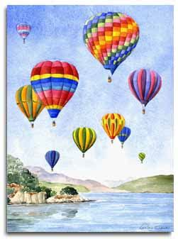 Prints of watercolour paintings of Hot air balloons, by