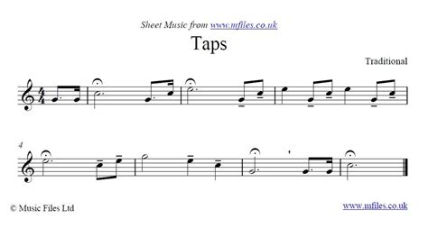 Traditional : Taps - a military bugle call: Online Sheet