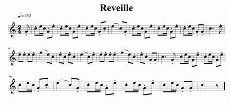 Music for the Reveille bugle call | Bugle call, Music