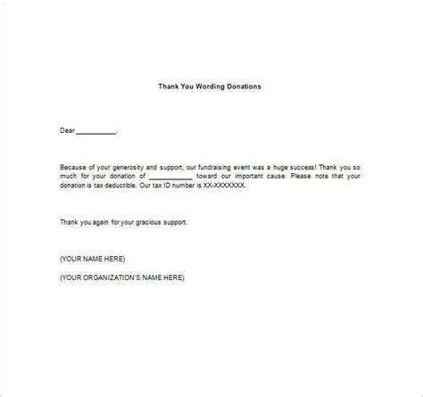 Thank You Notes For Donation – 8+ Free Word, Excel, PDF