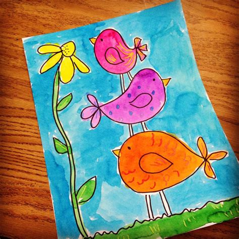Stacked Little Birdies - Art Projects for Kids