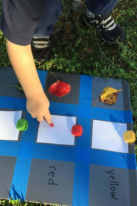 A Backyard Toddler Color Chart with Colorful Fall Leaves