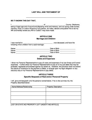 Bill Of Sale Form Oklahoma Last Will And Testament Form