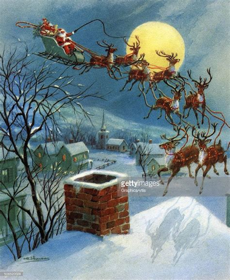 Vintage illustration of Santa Claus and his sleigh landing