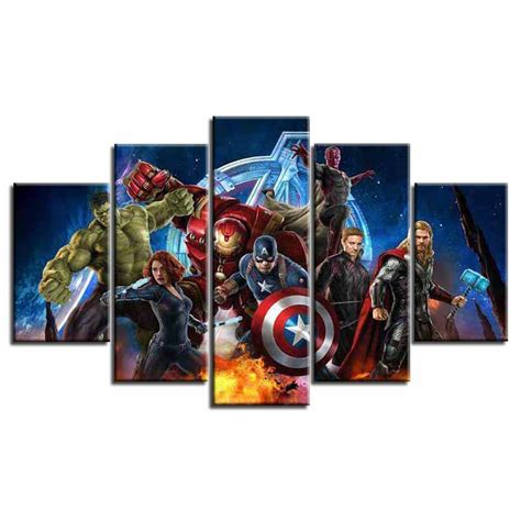 Avengers Movie Characters Framed 5 Piece Canvas Wall Art