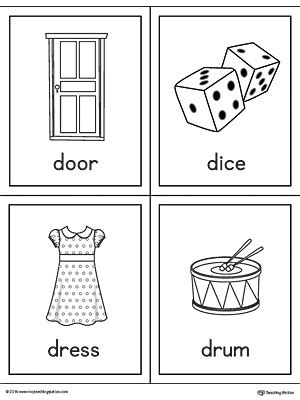 Letter D Words and Pictures Printable Cards: Door, Dice