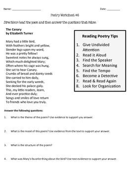 Poetry Comprehension Worksheets by Rigorous Resources by