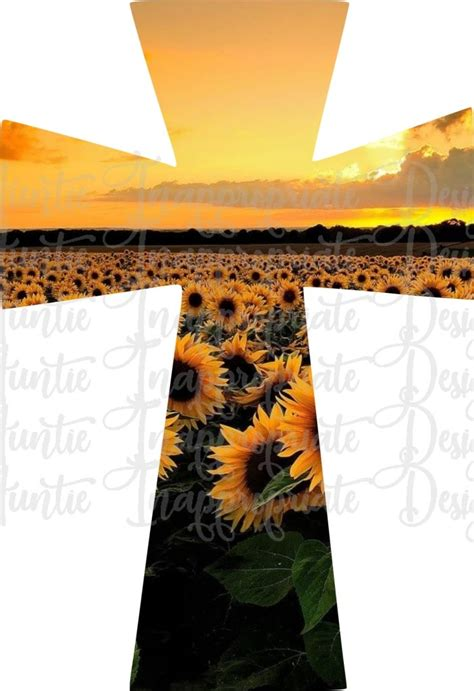 Sunflower Cross Sublimation file, PNG Printable