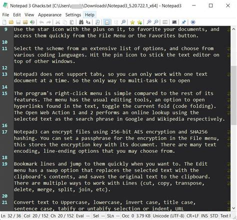 Notepad3 is an advanced text editor that supports many