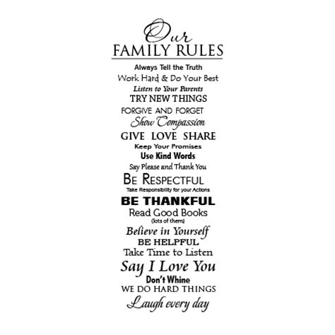 Classic Family Rules Extended Wall Quotes™ Decal