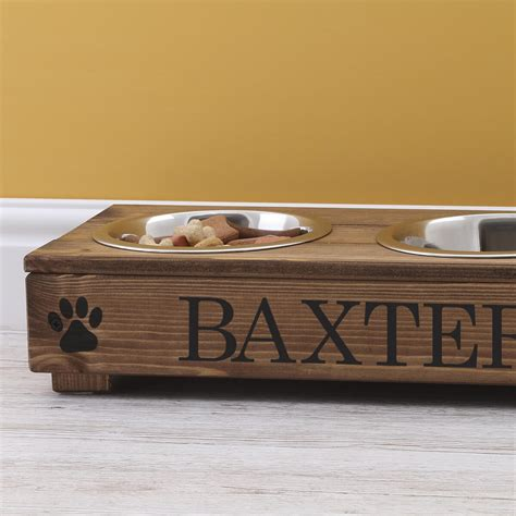 Personalised Rustic Wooden Double Dog Bowl Feeding Station