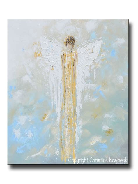 Print Abstract Guardian Angel Painting Gold Blue Wall Art