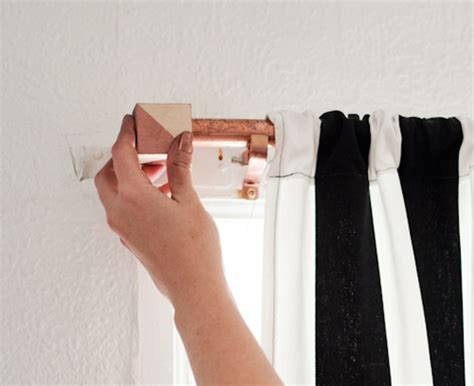 diy project: copper curtain rod with geometric cube