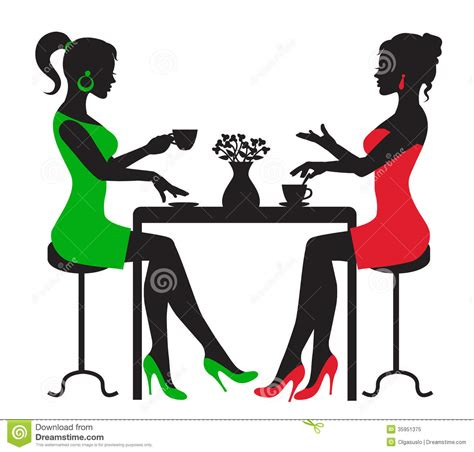 Two Women Drinking Coffee At A Table Stock Illustration