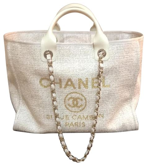 Chanel Shopping Deauville 2019 30 Cm Large Gold Beige