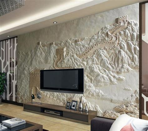 3D Relief Great Wall of China Wallpaper Mural for Home or